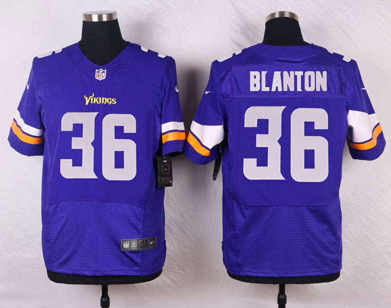 NFL Customize Minnesota Vikings 36 Blanton Purple Men Nike Elite Jerseys