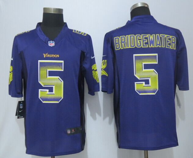 Minnesota Vikings 5 Bridgewater Pro Line Purple Fashion Strobe 2015 New Nike Jersey