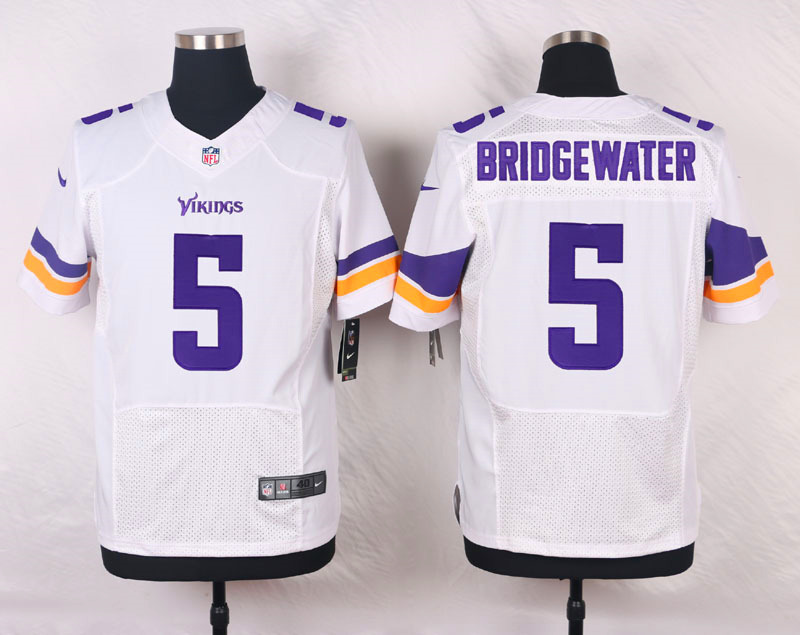 NFL Customize Minnesota Vikings 5 Bridgewater White Men Nike Elite Jerseys