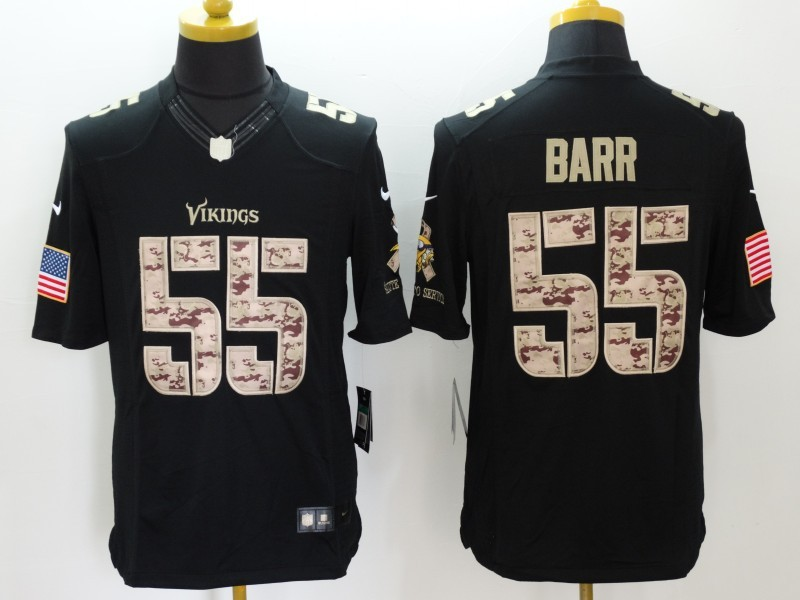 Minnesota Vikings 55 Barr Black Salute TO Service Nike Jerseys