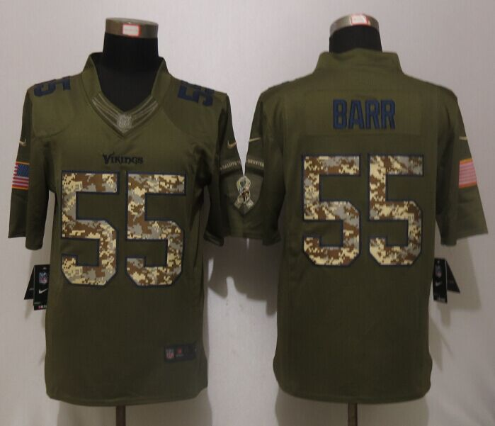 Minnesota Vikings 55 Barr Green Salute To Service New Nike Limited Jersey.