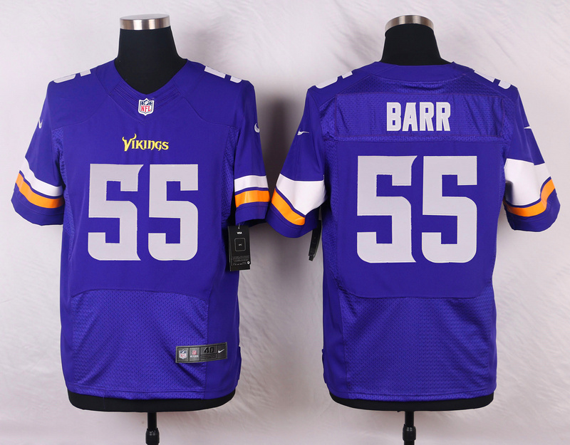 NFL Customize Minnesota Vikings 55 Barr Purple Men Nike Elite Jerseys