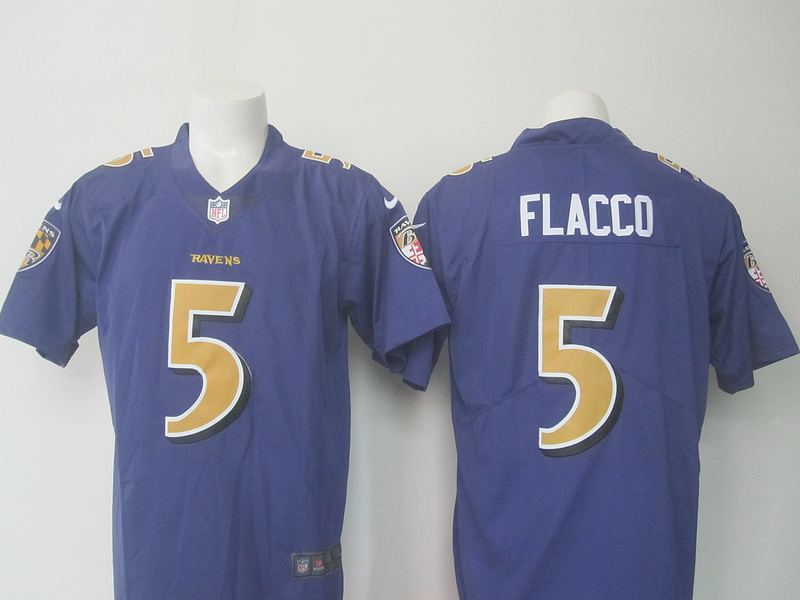 NEW Nike Baltimore Ravens 5 Flacco purple Color Rush Limited Jersey