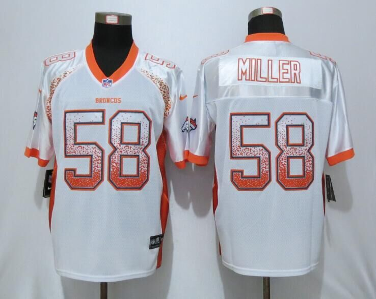 NEW Nike Denver Broncos 58 Miller White Drift Fashion Orange Elite Jersey