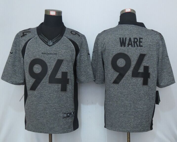NEW Nike Denver Broncos 94 Ware Gray Men's Stitched Gridiron Gray Limited Jersey