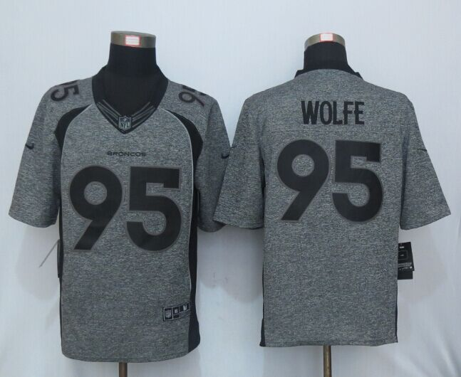 NEW Nike Denver Broncos 95 Wolfe Gray Men's Stitched Gridiron Gray Limited Jersey