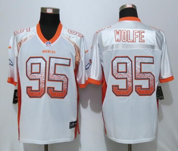NEW Nike Denver Broncos 95 Wolfe White Drift Fashion Orange Elite Jersey
