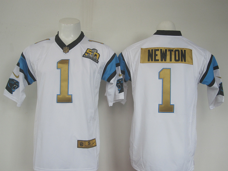 NFL Carolina Panthers 1 Cam Newton white 50th nike 2016 jerseys