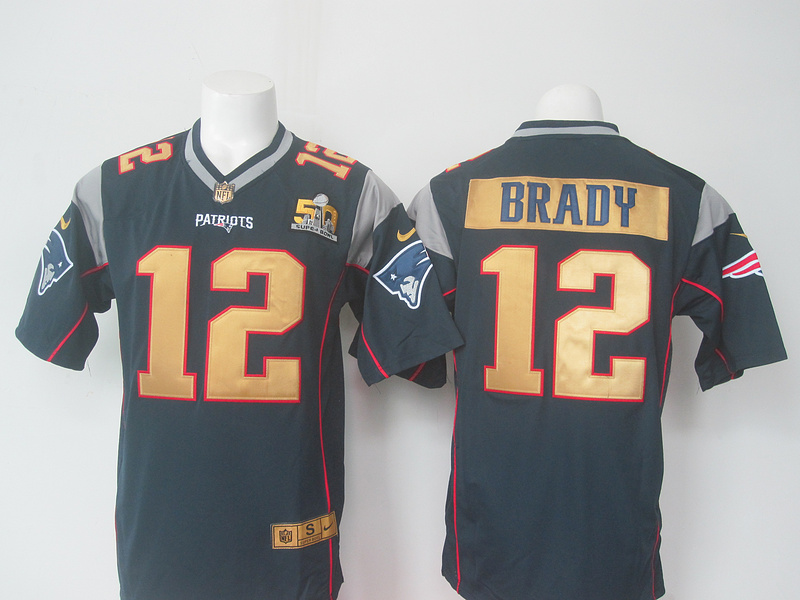 NFL New England Patriots 12 Brady Blue 50th nike 2016 Jerseys