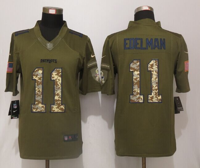 New England Patriots 11 Edelman Green Salute To Service New Nike Limited Jersey