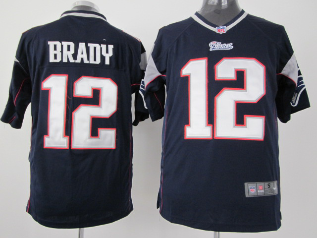 New England Patriots 12 Brady Blue Nike Game Jersey