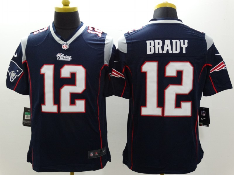 New England Patriots 12 Brady Blue Nike Limited Jerseys