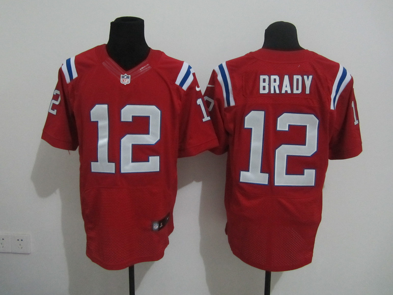 New England Patriots 12 Brady Red Nike Elite Jersey