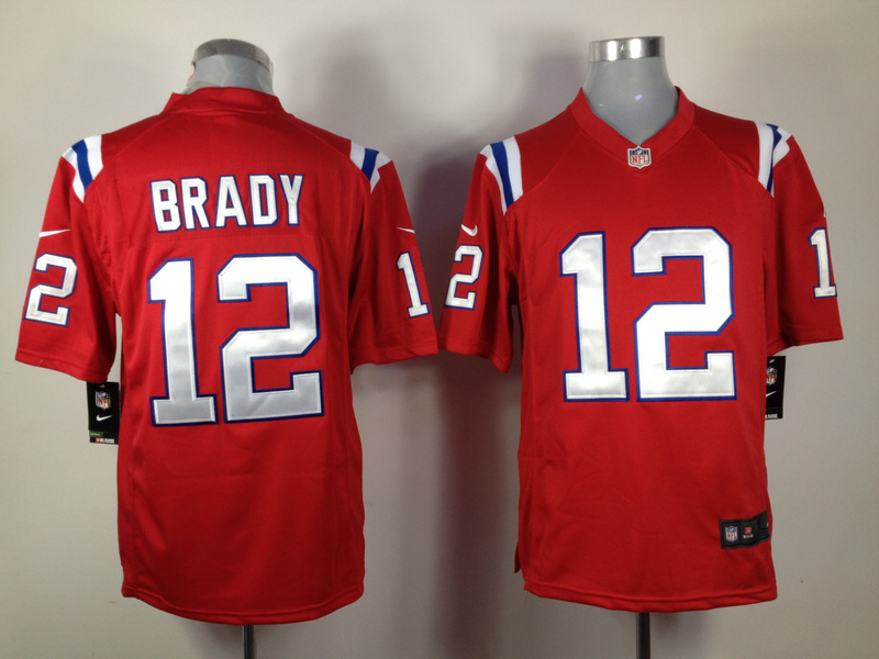 New England Patriots 12 Brady Red Nike Game Jersey