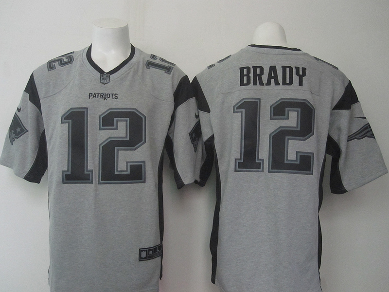 New England Patriots 12 Tom Brady Gray Gridiron Gray Nike Limited Jersey