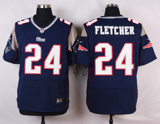 New England Patriots 24 Fletcher Blue Men Nike Elite Jerseys