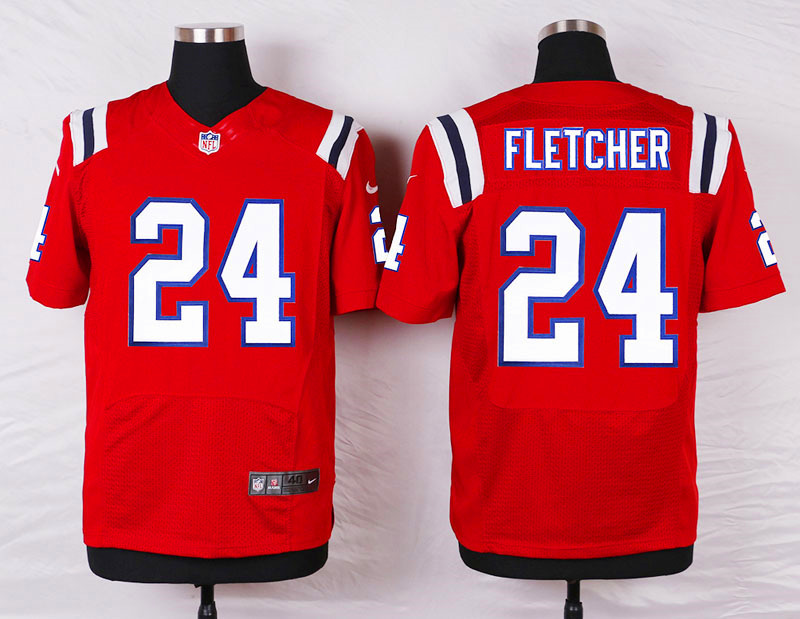 New England Patriots 24 Fletcher Red Men Nike Elite Jerseys
