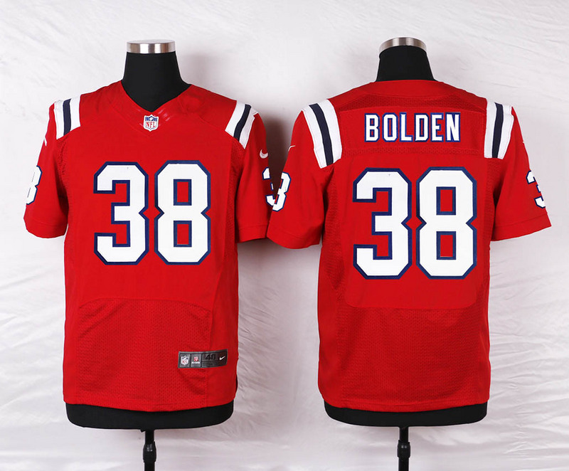 NFL Customize New England Patriots 38 Bolden Red Men Nike Elite Jerseys
