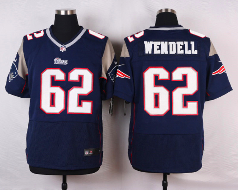 NFL Customize New England Patriots 62 Wendell Blue Men Nike Elite Jerseys