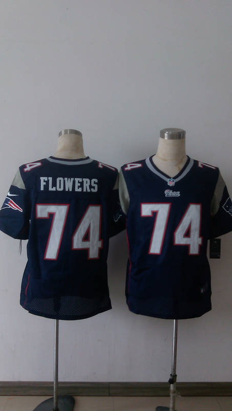 New England Patriots 74 Flowers Blue Men Nike Elite Jerseys