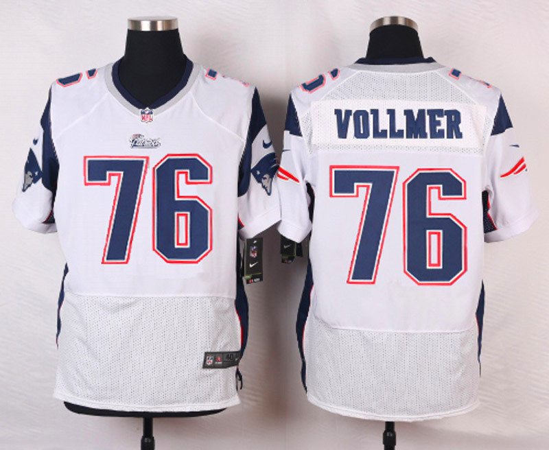 NFL Customize New England Patriots 76 Vollmer White Men Nike Elite Jerseys