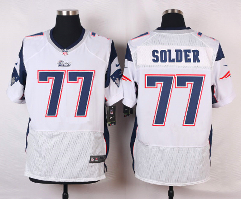 NFL Customize New England Patriots 77 Solder White Men Nike Elite Jerseys
