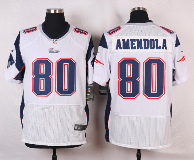NFL Customize New England Patriots 80 Amendola White Men Nike Elite Jerseys