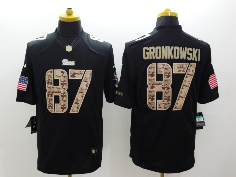 New England Patriots 87 Gronkowsk Black Nike Salute TO Service Jerseys