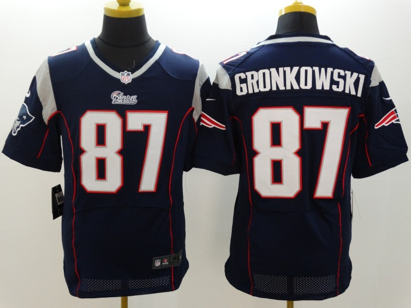 New England Patriots 87 Gronkowski Blue Nike Elite Jerseys