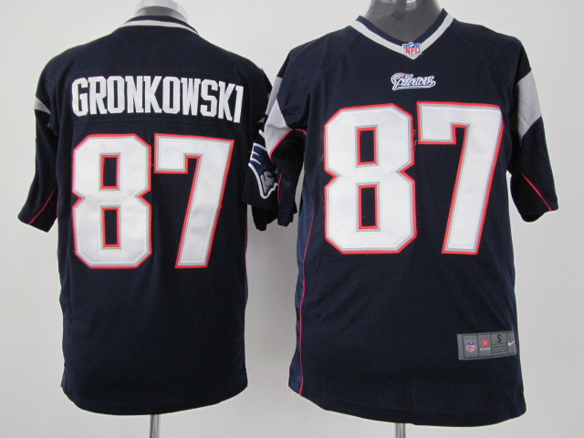 New England Patriots 87 Gronkowski Blue Nike Game Jersey