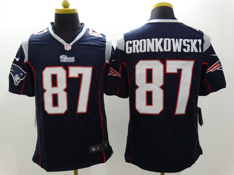 New England Patriots 87 Gronkowski Blue Nike Limited Jerseys