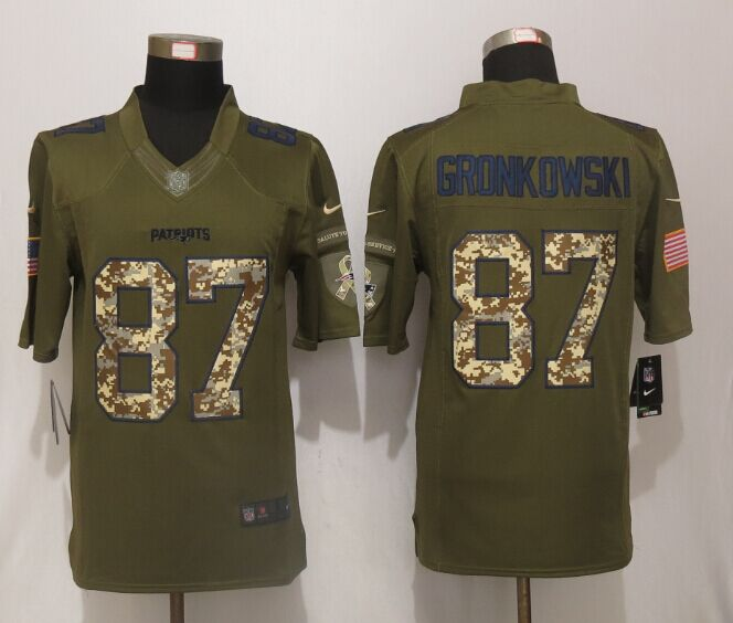 New England Patriots 87 Gronkowski Green Salute To Service New Nike Limited Jersey.