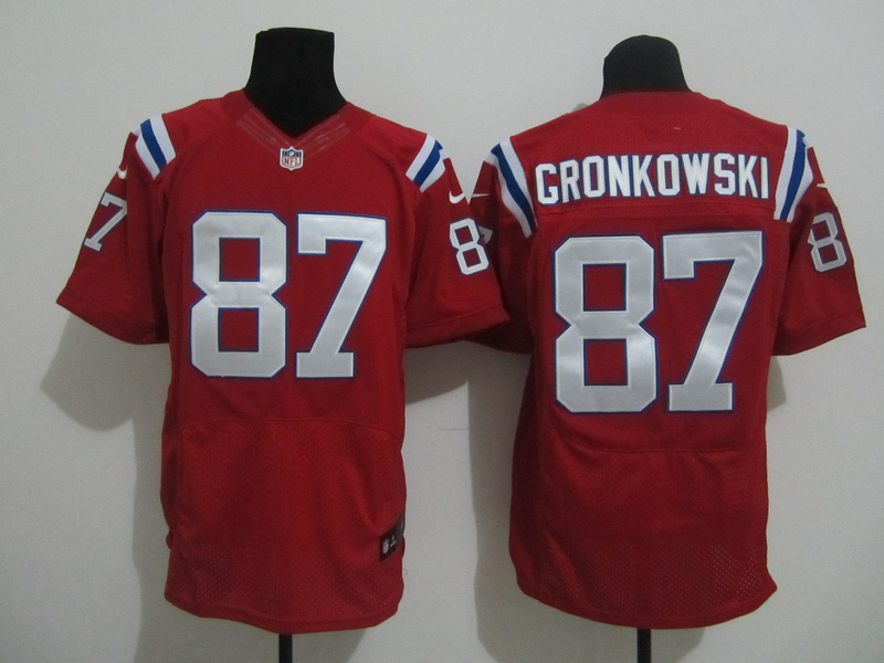 New England Patriots 87 Gronkowski Red Nike Elite Jersey