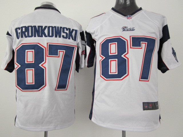 New England Patriots 87 Gronkowski White Nike Game Jersey
