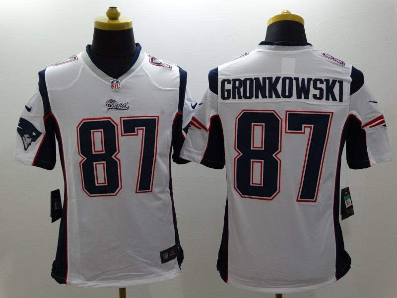 New England Patriots 87 Gronkowski White Nike Limited Jerseys