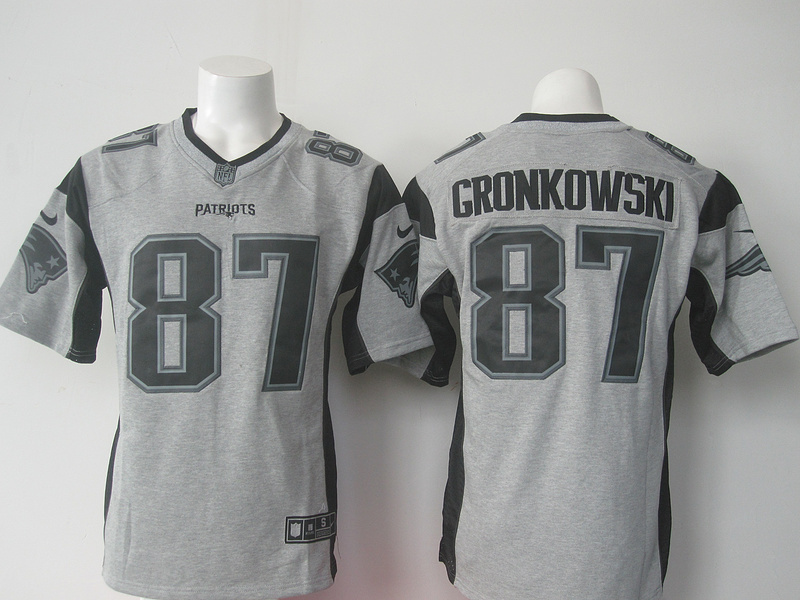 New England Patriots 87 Rob Gronkowski Gray Gridiron Gray Nike Limited Jersey