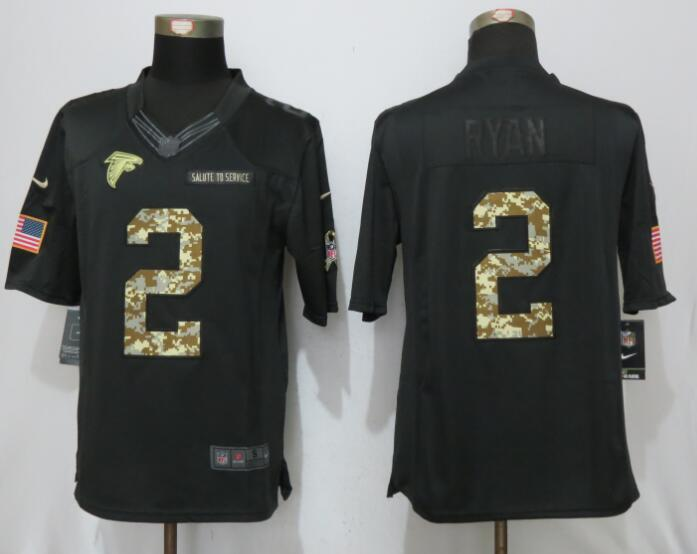 New Nike Atlanta Falcons 2 Ryan Anthracite Salute To Service Limited Jersey
