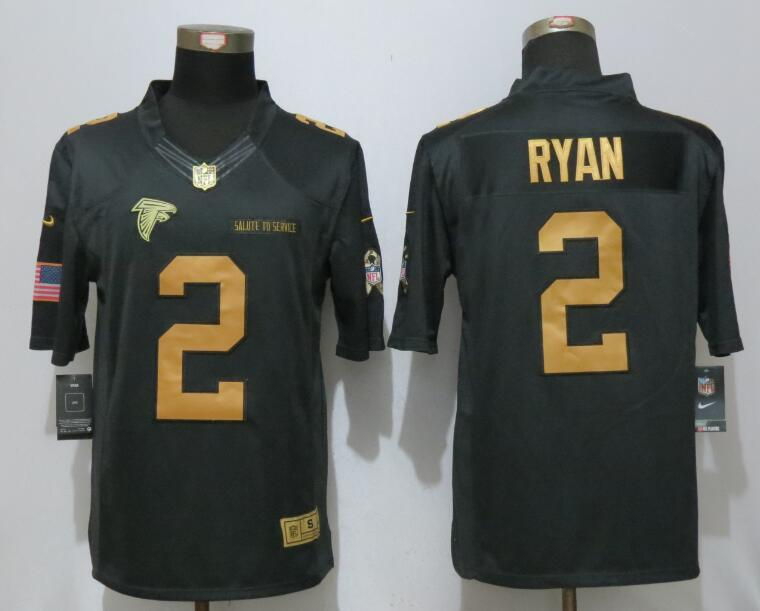 New Nike Atlanta Falcons 2 Ryan Gold Anthracite Salute To Service Limited Jersey