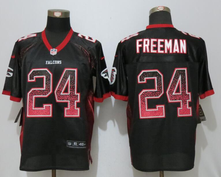 New Nike Atlanta Falcons 24 Freeman Drift Fashion Black Elite Jerseys