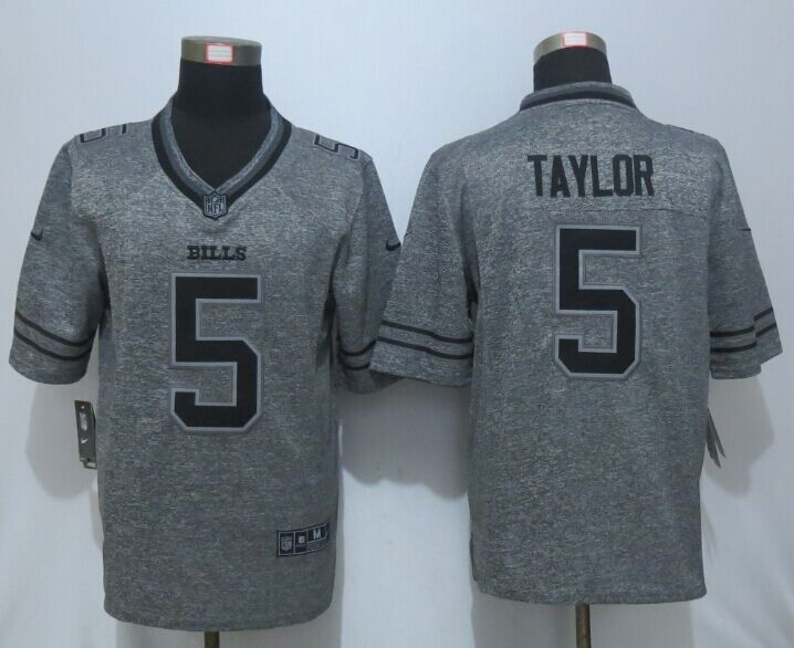 New Nike Buffalo Bills 5 Taylor Gray Men's Stitched Gridiron Gray Limited Jersey