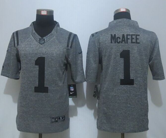 New Nike Indianapolis Colts 1 McAfee Gray Men's Stitched Gridiron Gray Limited Jersey