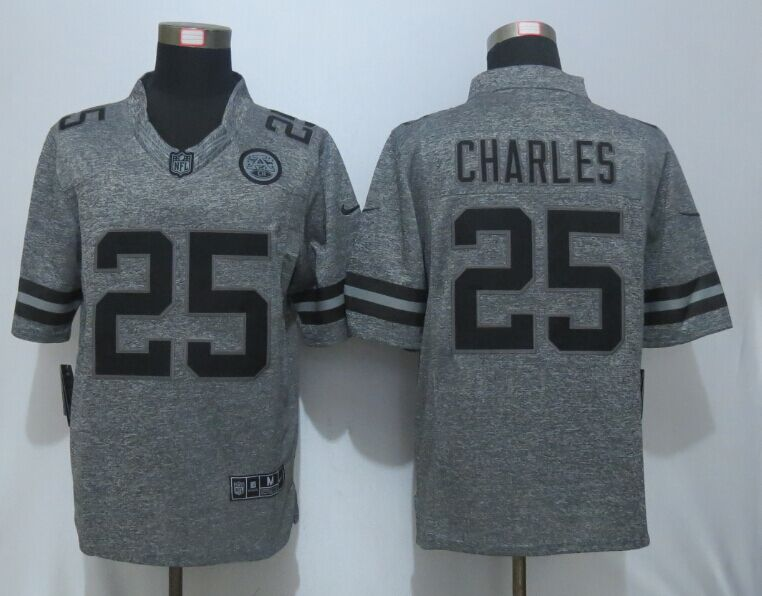 New Nike Kansas City Chiefs 25 Charles Gray Men's Stitched Gridiron Gray Limited Jersey