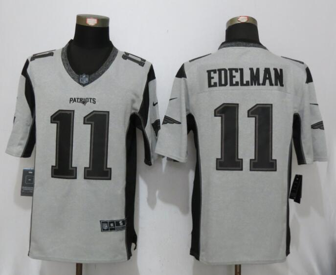 New Nike New England Patriots 11 Edelman Nike Gridiron Gray II Limited Jersey