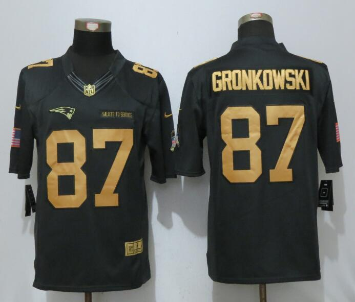 New Nike New England Patriots 87 Gronkowski Gold Anthracite Salute To Service Limited Jersey