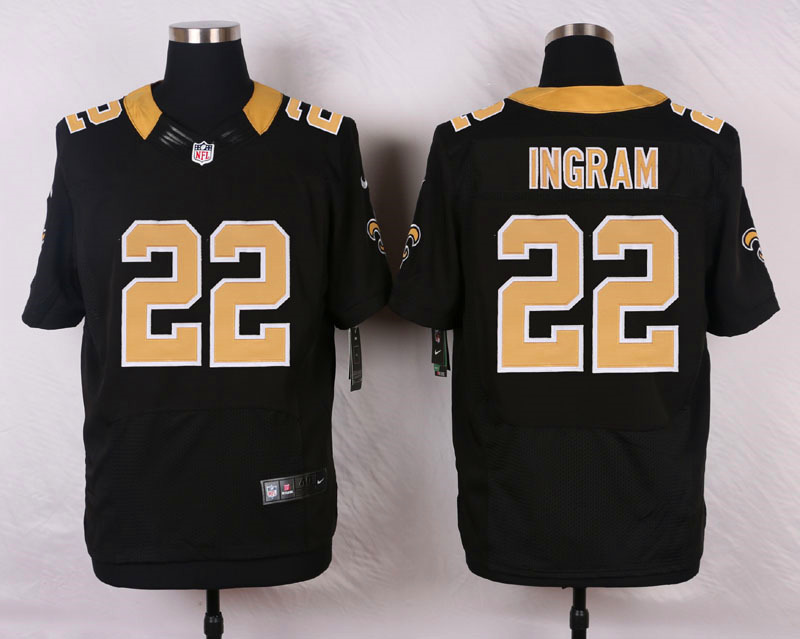 NFL Customize New Orleans Saints 22 Ingram Black Men Nike Elite Jerseys