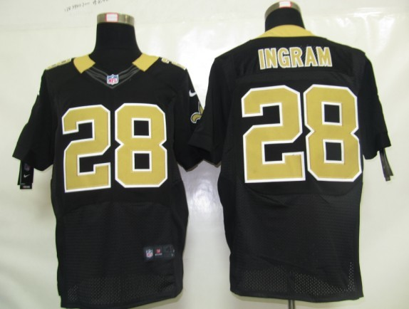 New Orleans Saints 28 Ingram Black Nike Elite Jersey