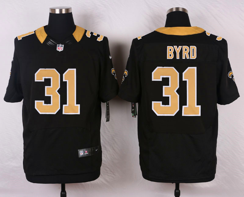 NFL Customize New Orleans Saints 31 Byrd Black Men Nike Elite Jerseys