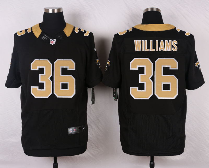 NFL Customize New Orleans Saints 36 Williams Black Men Nike Elite Jerseys