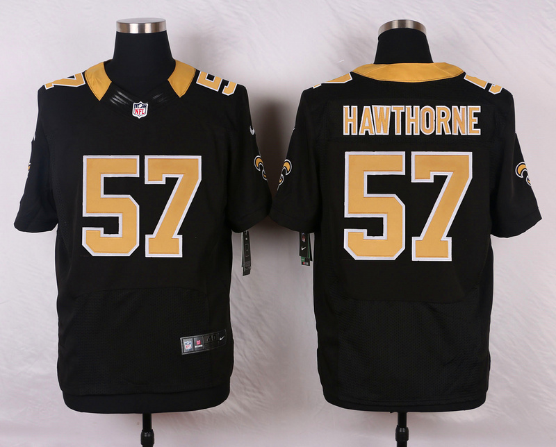 NFL Customize New Orleans Saints 57 Hawthorne Black Men Nike Elite Jerseys