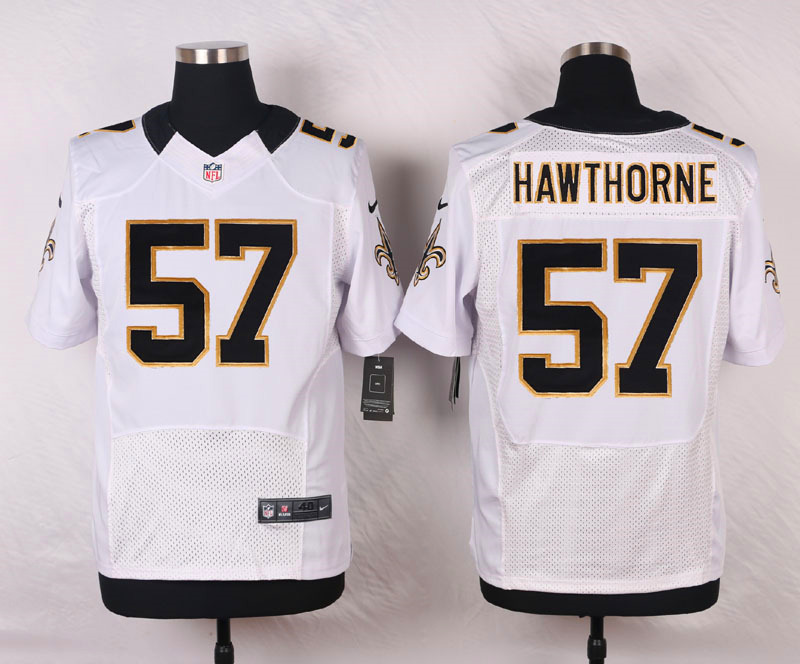 NFL Customize New Orleans Saints 57 Hawthorne White Men Nike Elite Jerseys